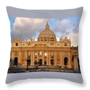 St. Peters Basilica Throw Pillow by Adam Romanowicz