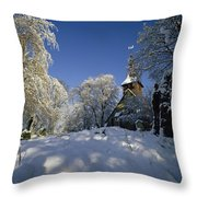 St Peter's Church In The Snow Throw Pillow