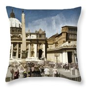 St Peters Square - Vatican Throw Pillow by Jon Berghoff