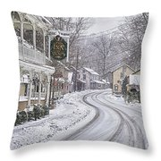 St Peters Village Snow 3 Throw Pillow