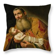 St Simeon Presenting The Infant Christ In The Temple  Throw Pillow