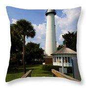 St. Simon's Island Georgia Lighthouse Painted Throw Pillow