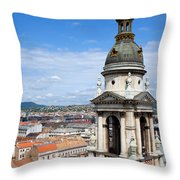 St Stephen's Basilica Bell Tower In Budapest Throw Pillow