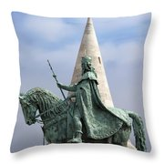 St Stephen's Statue In Budapest Throw Pillow