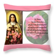St. Theresa Prayer With Pink Border Throw Pillow
