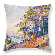 St Tropez The Custom's Path Throw Pillow by Paul Signac