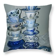 Stack Of Blue Teacups  Throw Pillow