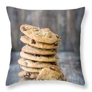 Stack Of Chocolate Chip Cookies With One Leaning Kitchen Art Throw Pillow