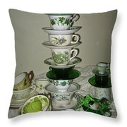Stack Of Green Teacups  Throw Pillow