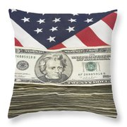 Stack Of Money On American Flag  Throw Pillow