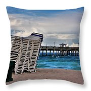 Stacked Beach Chairs Throw Pillow