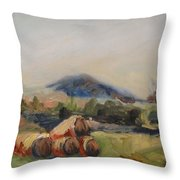 Stacked Hay Bales Throw Pillow