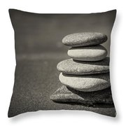 Stacked Pebbles On Beach Throw Pillow by Elena Elisseeva