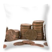 Stacks Of American Pennies White Background Throw Pillow