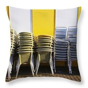 Stacks Of Chairs And Tables Throw Pillow by Carlos Caetano