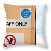 Staff Only Signs At Laboratory Throw Pillow