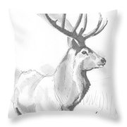 Stag Drawing Throw Pillow