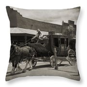 Stage Coming Through Tombstone Throw Pillow