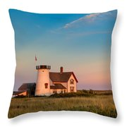 Stage Harbor Lighthouse Square Throw Pillow by Bill Wakeley