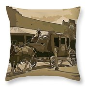Stagecoach In Old West Arizona Throw Pillow