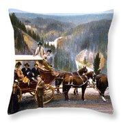 Stagecoach Near Upper Falls Throw Pillow