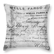 Stagecoach Ticket 1868 Throw Pillow