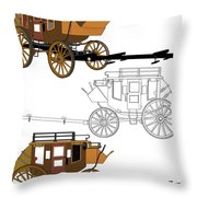 Stagecoach Without Horses - Color Sketch Drawing Throw Pillow