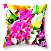 Stain Glass Framed Florals Throw Pillow