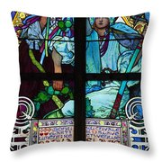 Stained Galss Window In St Vitus Throw Pillow