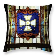 Stained Glass 3 Panel Vertical Composite 01 Throw Pillow by Thomas Woolworth