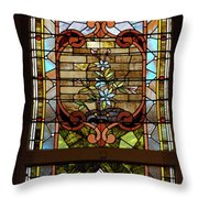 Stained Glass 3 Panel Vertical Composite 02 Throw Pillow by Thomas Woolworth