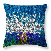 Stained Glass Anemone 1 Throw Pillow