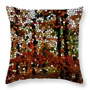 Stained Glass Autumn Colors In The Forest  Throw Pillow