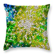 Stained Glass Beautiful Fireworks Throw Pillow