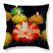 Stained Glass Candle 1 Throw Pillow