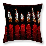Stained Glass Candle Throw Pillow