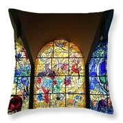 Stained Glass Chagall Windows Throw Pillow