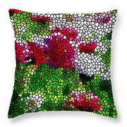 Stained Glass Chrysanthemum Flowers Throw Pillow