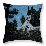 Stained Glass Church Scene Throw Pillow