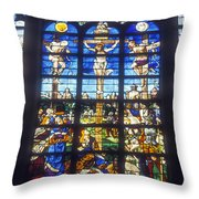 Stained Glass Crucifixion Throw Pillow