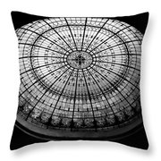 Stained Glass Dome - Bw Throw Pillow