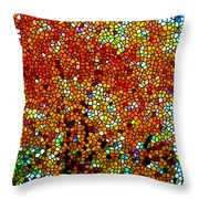 Stained Glass Fall Orange Maple Tree Throw Pillow
