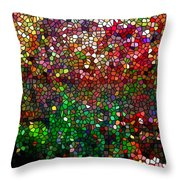 Stained Glass  Fall Reflected In The Still Waters Throw Pillow