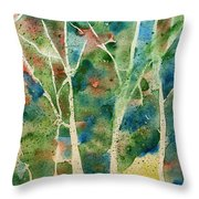 Stained Glass Forest In Spring Throw Pillow