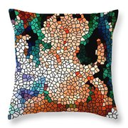 Stained Glass Ganapati Throw Pillow