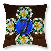 Stained Glass Harp Throw Pillow