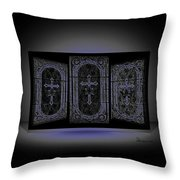 Stained Glass In Blue Throw Pillow