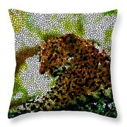 Stained Glass Leopard 2 Throw Pillow