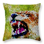 Stained Glass Leopard 3 Throw Pillow