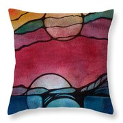 Stained Glass Moonrise Throw Pillow